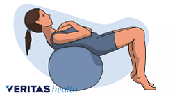 illustration of ball half crunch exercise