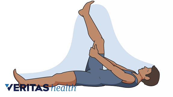 Line drawing of person performing the lying hamstring stretch