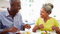 Couple enjoying dinner together