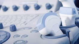 Closeup view of ultrasound keyboard.