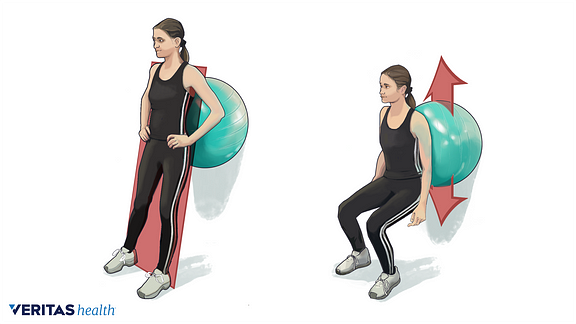 Ball squat exercise