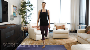 Animated video still of woman performing one leg balance exercise