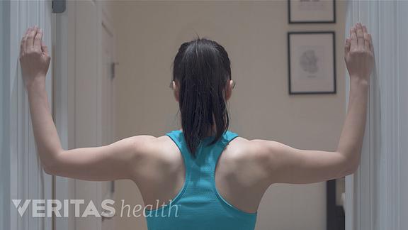 Corner stretch for neck and shoulder pain