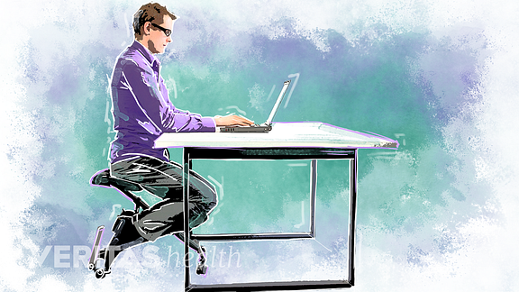 illustration of a man using a kneeling chair at a desk