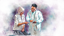illustration of a doctor consulting a senior female patient
