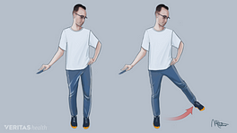 Illustration of a man doing a hip abduction exercise. He is standing, holding on to a chair, and then swinging his leg out laterally with control to the side.