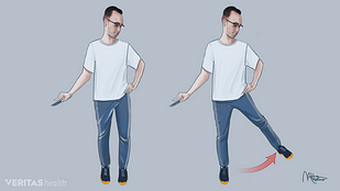 Hip abduction exercises help stabilize the pelvis and encourage a normal walking gait after hip replacement surgery.