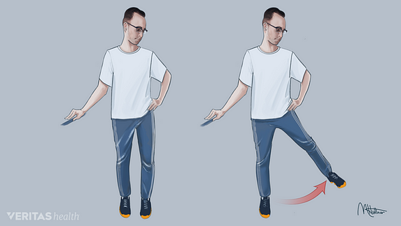 Medical illustration of standing hip abduction exercise