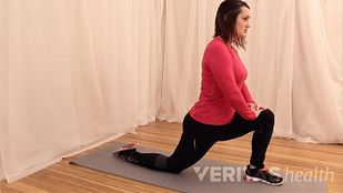 Person doing hip flexor stretch