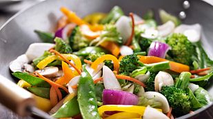 Vegetable stir fry in a pan