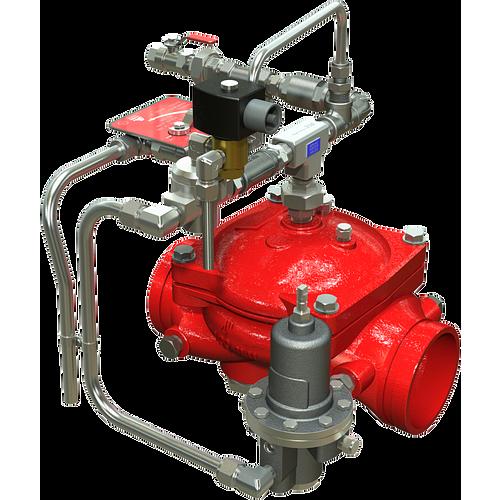 Válvula de diluvio Serie 869E-3DC para control de presión aguas abajo, con operación remota eléctrica ON/OFF