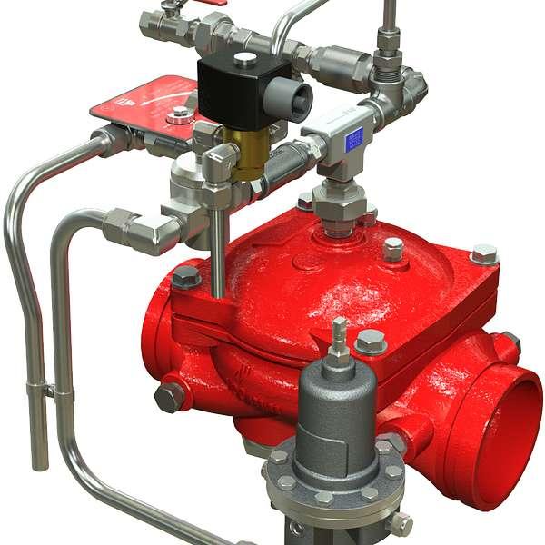 Válvula de diluvio Serie 869Y-3DC para control de presión aguas abajo, con operación remota eléctrica ON-OFF