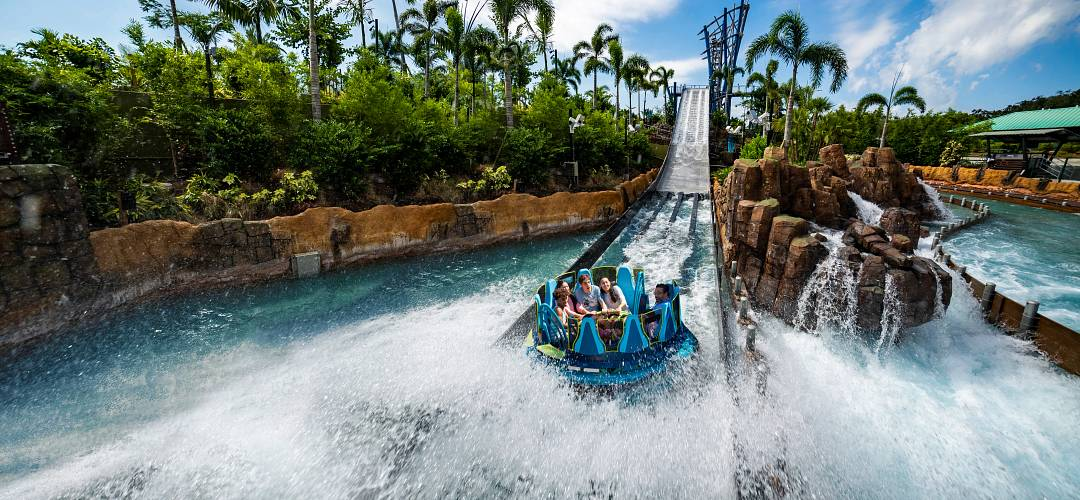 People on Seaworld's raft water ride, Infinity Falls
