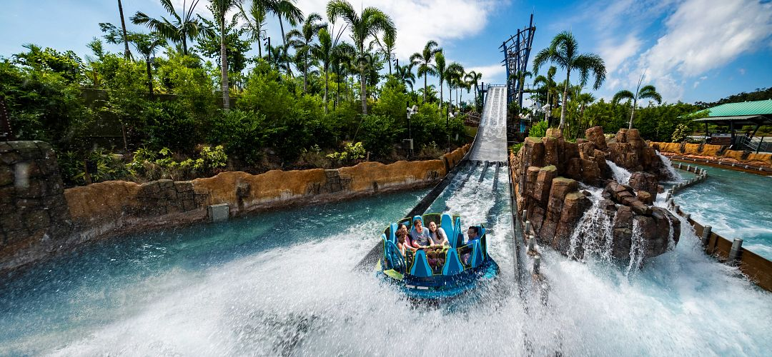 Family on Infinity Falls raft ride at SeaWorld Orlando