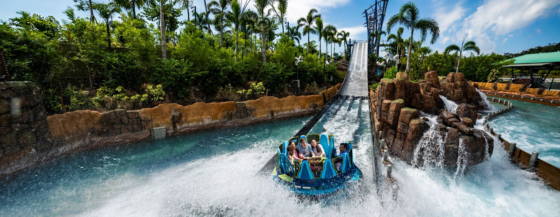 Family Riding Infinity Falls at Seaworld Orlando