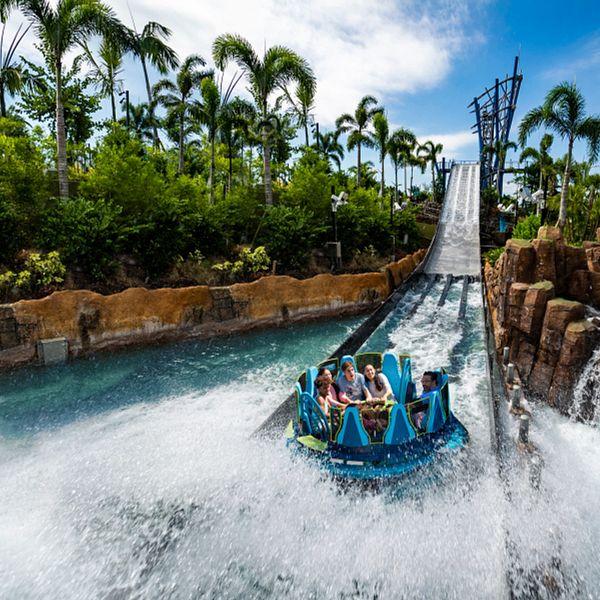 A family riding Infinity Falls at SeaWorld Orlando
