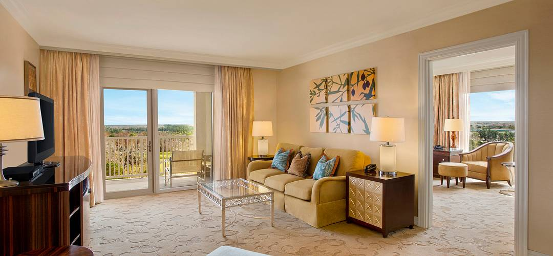 A view of an elegant luxury suite room in Orlando