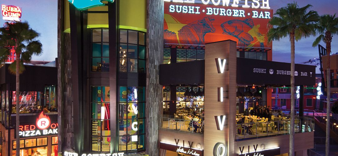 View of The Cowfish exterior at nighttime.