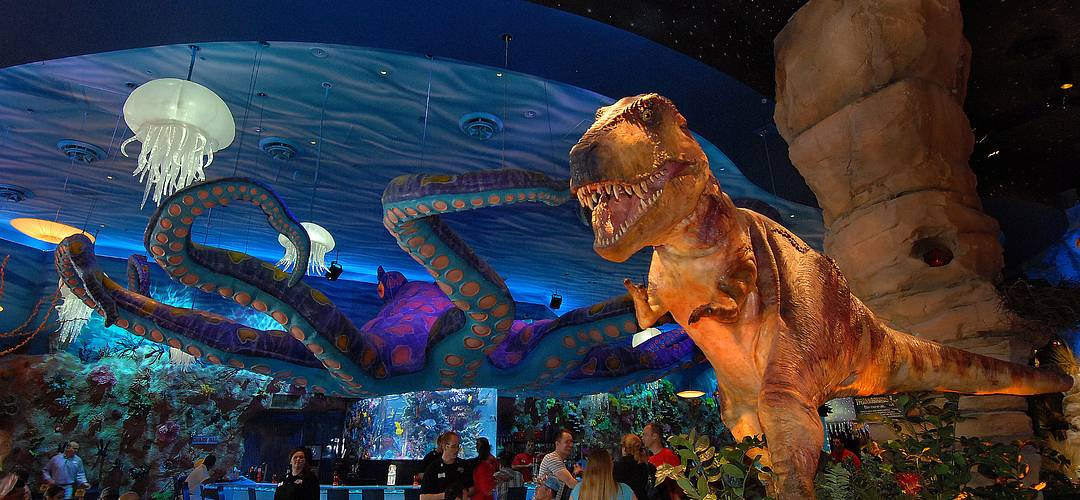 Interior of T-REX restaurant at Disney Springs in Orlando