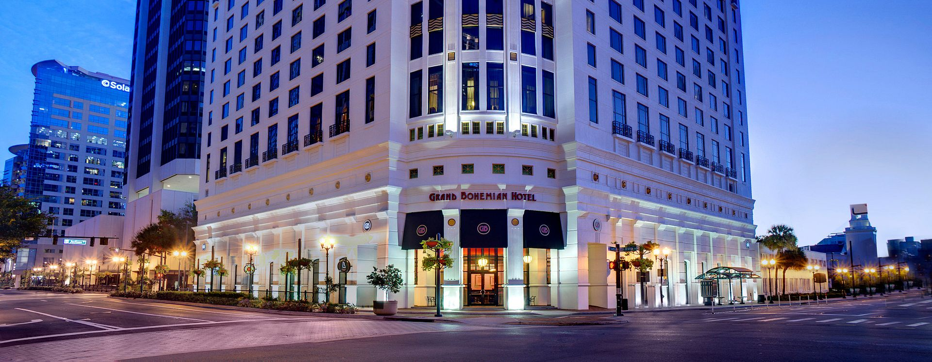 Grand Bohemian Hotel exterior at night
