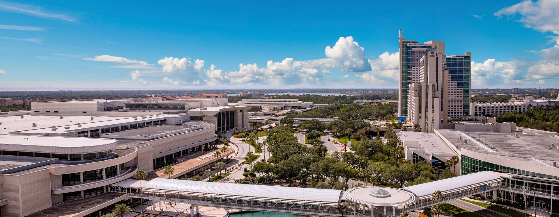 Orange County Convention Center aerial shot with connectivity bridge