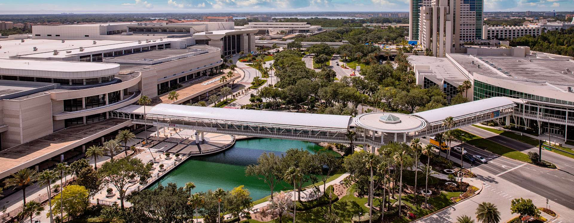Orange County Convention Center aerial shot with connectivity bridge