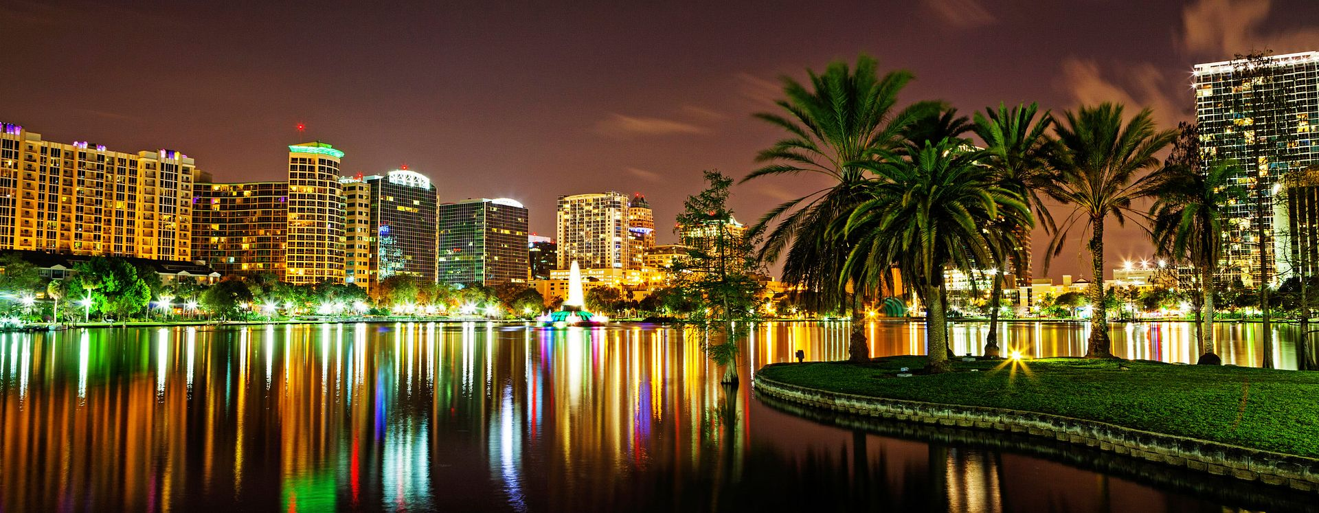downtown, orlando, lake eola, skyline