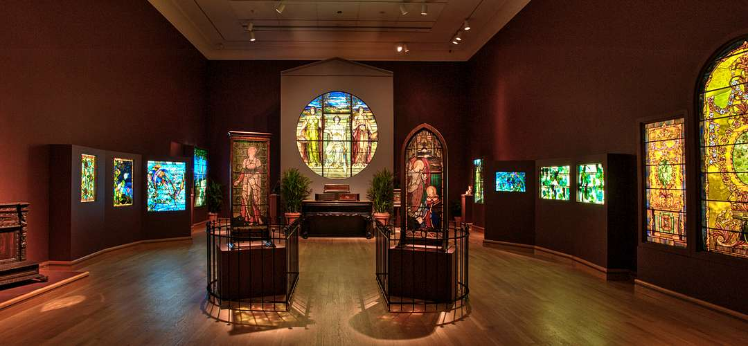 An exhibit featuring stained glass at The Charles Hosmer Morse Museum of American Art