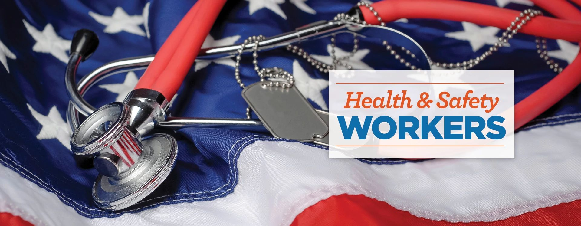A stethoscope and military tags against an American Flag.