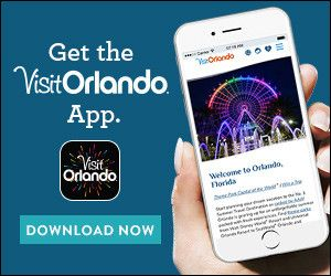 Phone displaying the very friendly and useful homescreen for the Visit Orlando App.