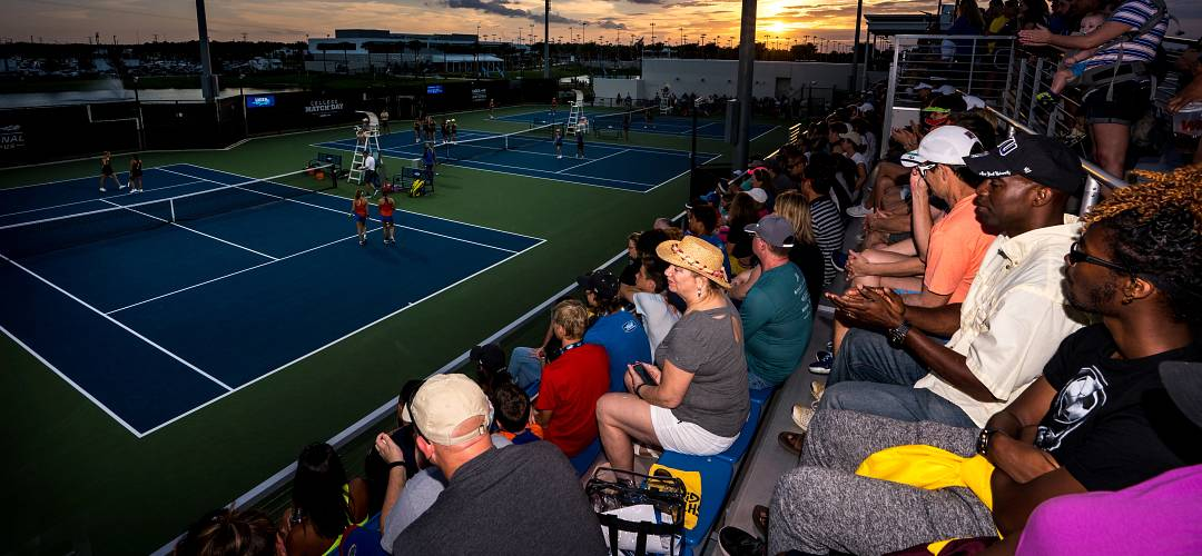 Spectators watching a tennis match at the USTA National Campus in Lake Nona