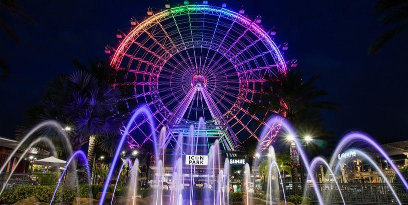 ICON Orlando lit up at night