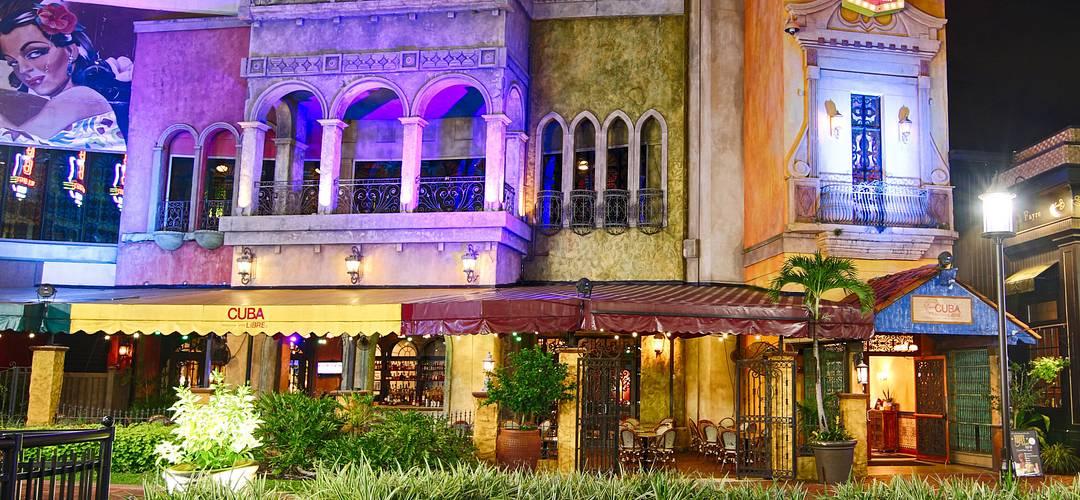 Cuba Libre Restaurant & Rum Bar exterior at night