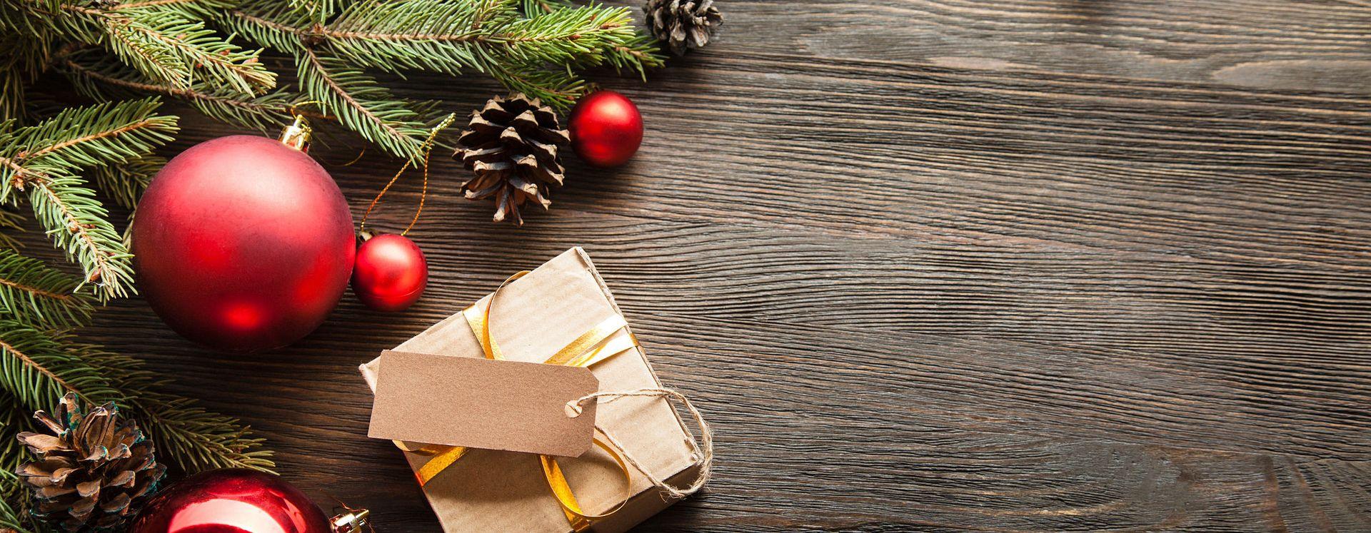 Temporada de Natal com caixa de presente
