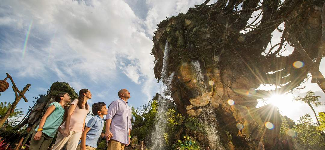 A family looking up in amazement inside The World of AVATAR at Disney's Animal Kingdom