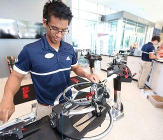 Tennis raquet stringing at the USTA National Campus in Orlando