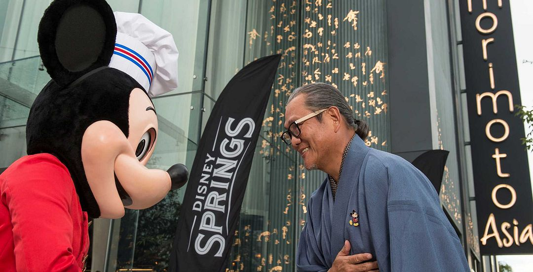 Mickey Mouse and Masaharu Morimoto at the Opening of Disney Springs' Morimoto Asia (Photography by Patina Restaurant Group)