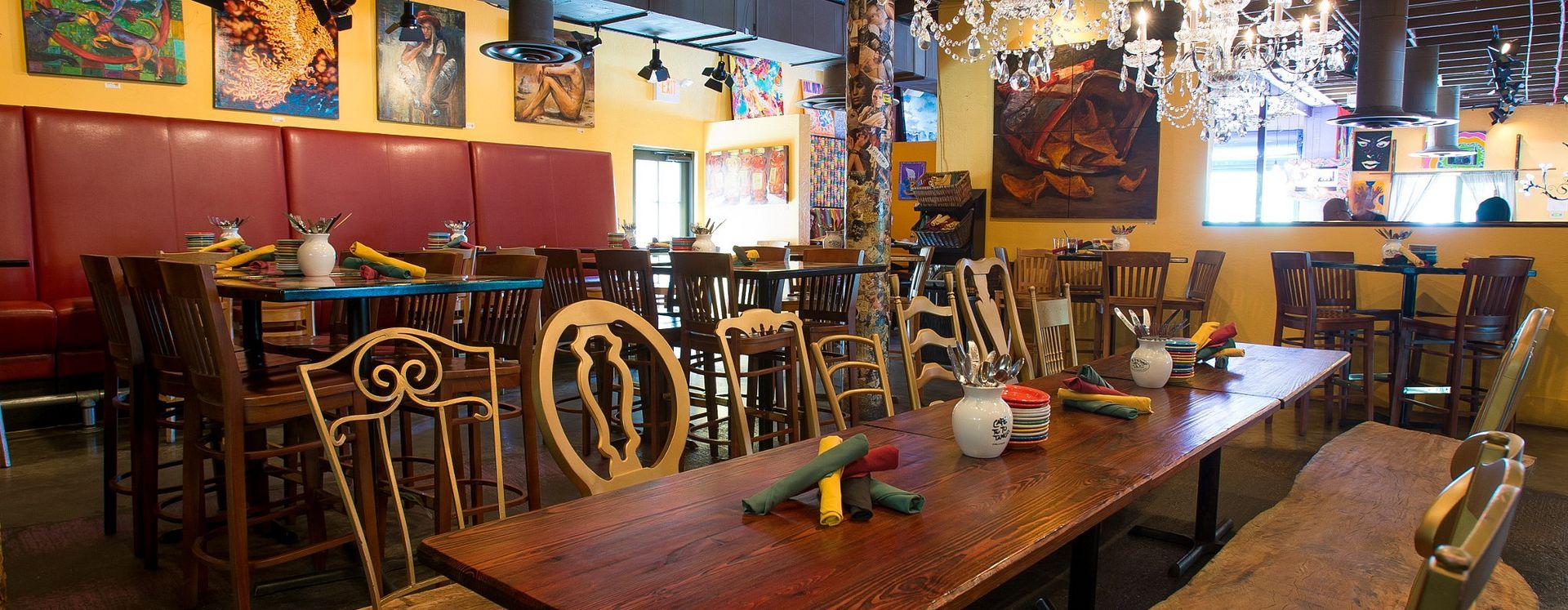 Interior seating area of Cafe Tu Tu Tango