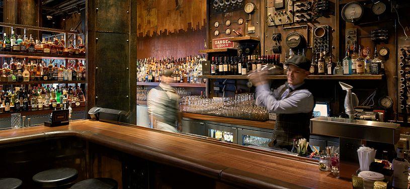 Bar area at The Edison in Orlando