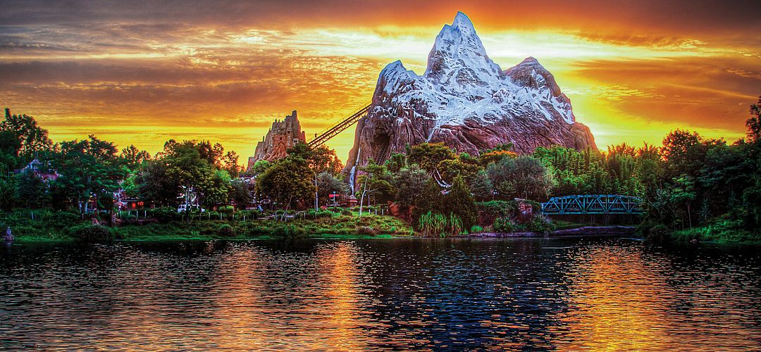 Expedition Everest ride at Disney's Animal Kingdom Theme Park at sunset