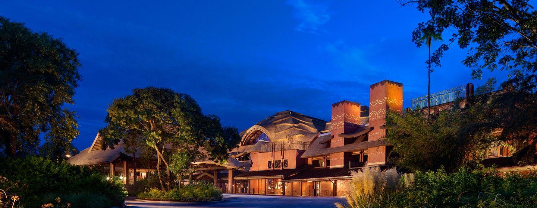 Disney's Animal Kingdom Lodge exterior at night