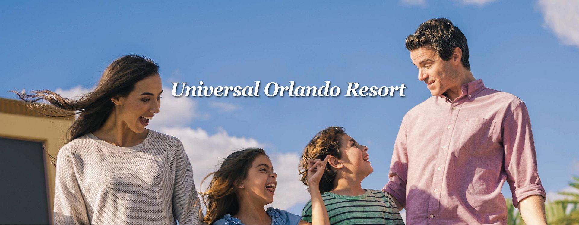 A family of four enjoying Universal Orlando Resort