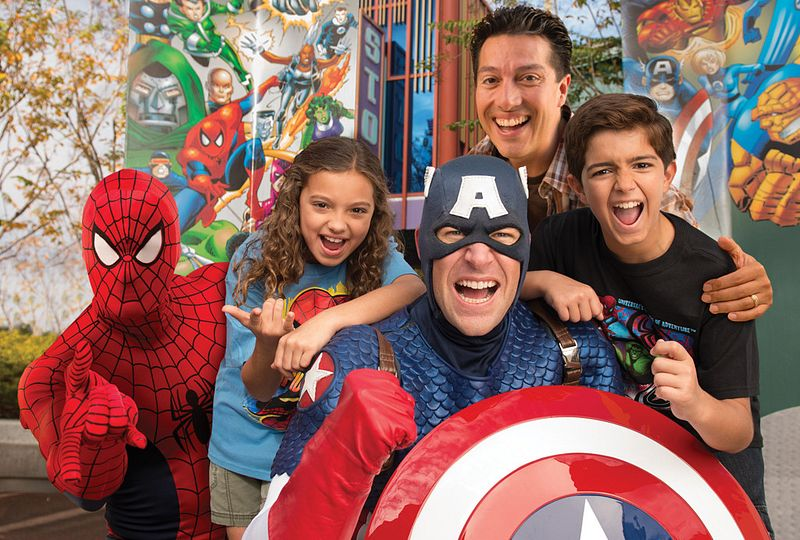 A group picture with Spider-Man and Captain America.