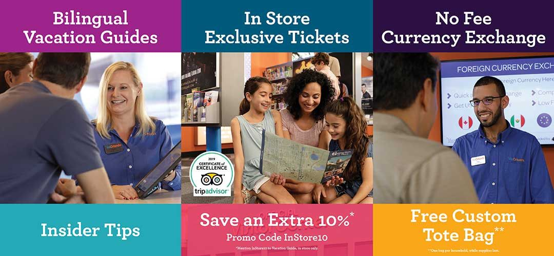 Services offered at the Visit Orlando Official Visitor Center - bilingual vacation guides, exclusive tickets, no-fee currency exchange, insider tips, and more!