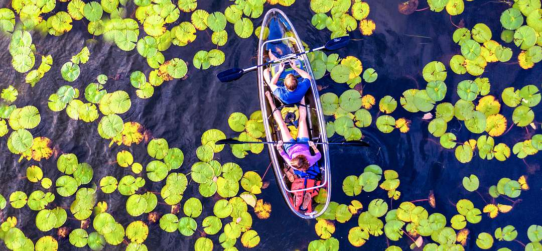 Aerial view of a kayak on a lake in Winter Park.