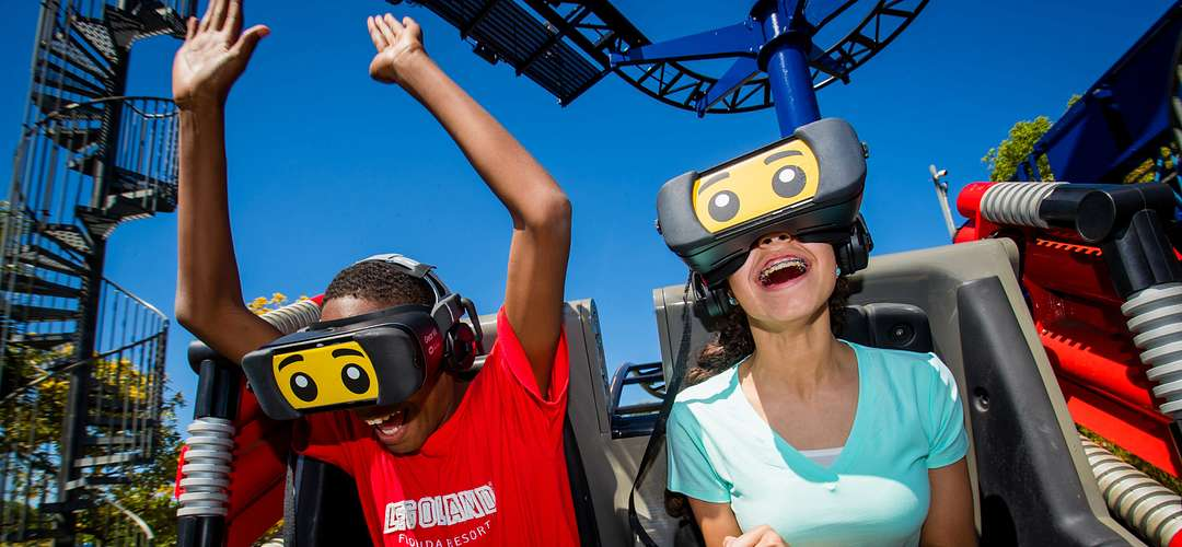 Kids riding The Great LEGO Race VR Coaster at LEGOLAND Florida