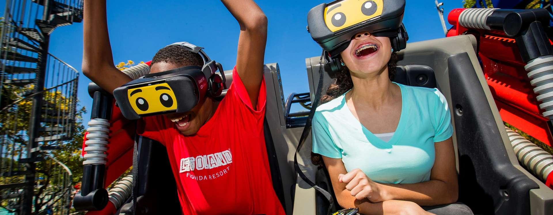 A boy and a girl at LEGOLAND® Florida Resort enjoying The Great LEGO Race