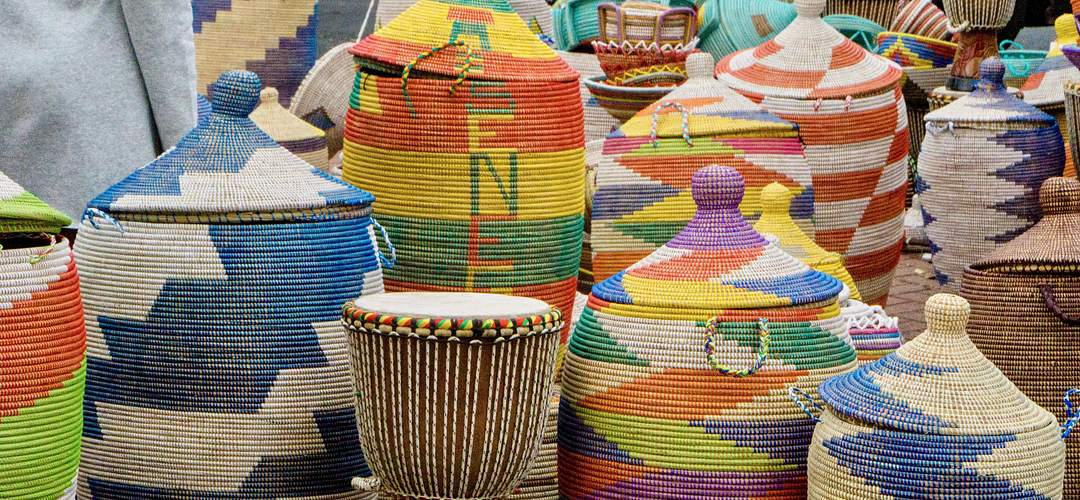 Handmade baskets at the Zora Festival