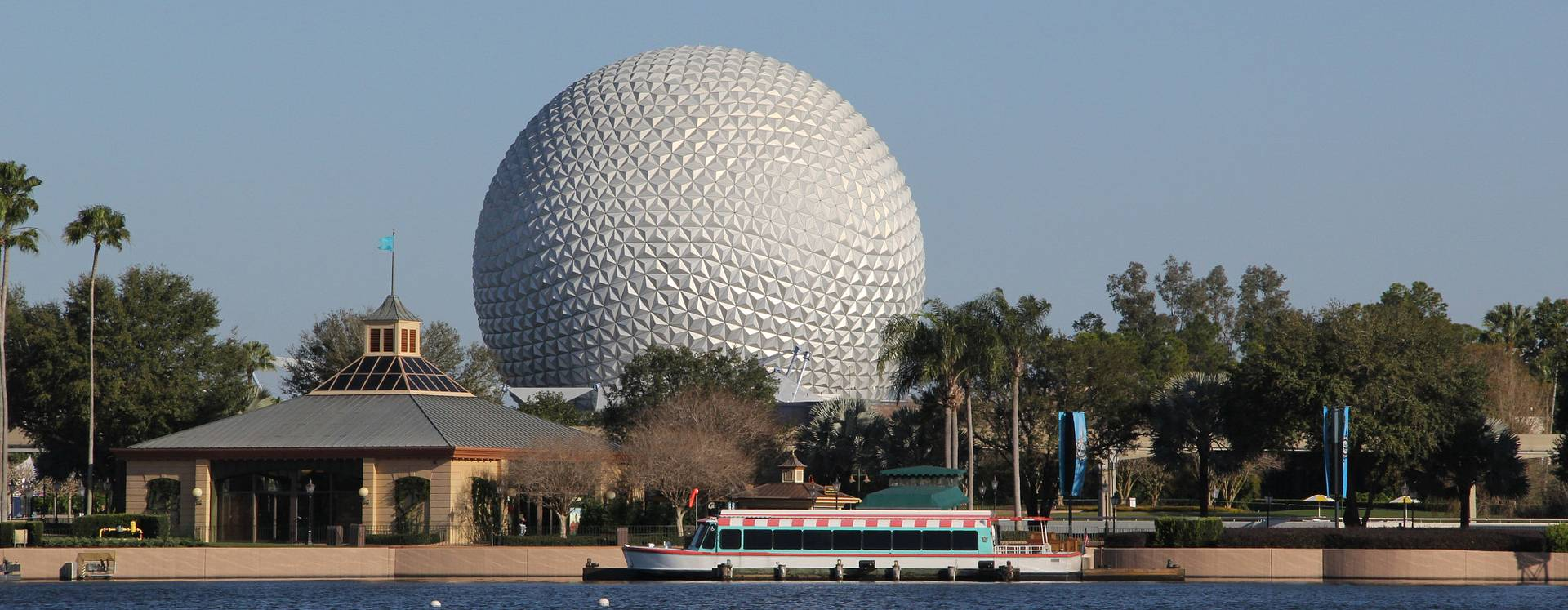 The Spaceship Earth globe in the background of the World Showcase at Epcot