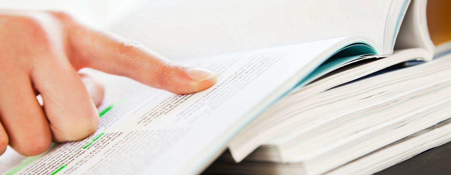 Person reading through terms